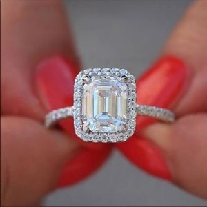 New 18k gold plated white sapphire engagement ring